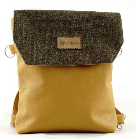 Női hátitáska, válltáskaként is használható, mustár, textilbőr