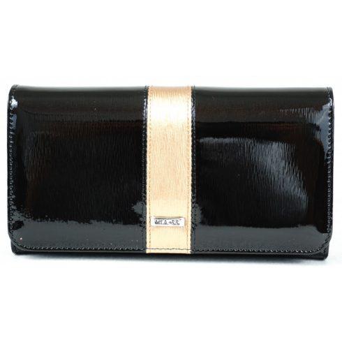 VIA-55 női pénztárca, fekete-arany, bőr