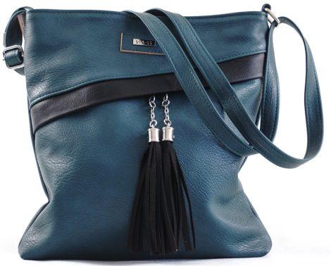 VIA55 keresztpántos táska, sötétzöld, rostbőr