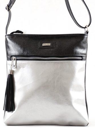 VIA55 keresztpántos táska, fekete, rostbőr