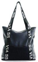 VIA55 nagyméretű női válltáska felirattal, rostbőr, sötétkék