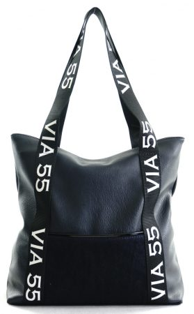 VIA55 nagyméretű válltáska felirattal, rostbőr, sötétkék