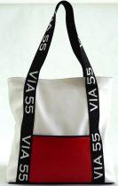 VIA55 nagyméretű válltáska felirattal, rostbőr, fehér-piros