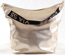 VIA55 női válltáska, arany, rostbőr