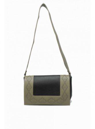 Keresztpántos táska, geometrikus díszítéssel, műbőr, zöld/fekete
