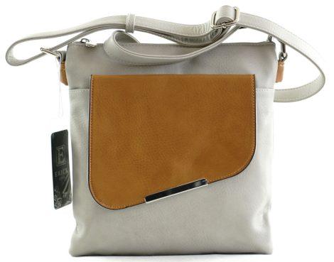 Női keresztpántos táska nagy ráhajtós zsebbel, műbőr, szürke-barna