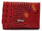 VIA55 női pénztárca pillangós mintával, bőr, piros