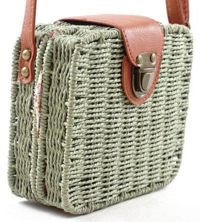 Női keresztpántos táska kocka alakú, szőttes anyag, zöld