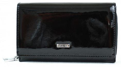 VIA-55 női pénztárca, fekete, bőr