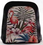 Női hátitáska elején virágmintával, fekete, műbőr