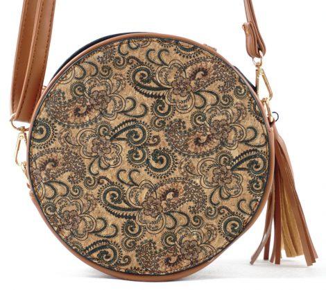 Női keresztpántos táska, barna, parafa