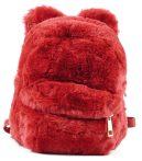 Plüss mini hátitáska macifüllel, piros