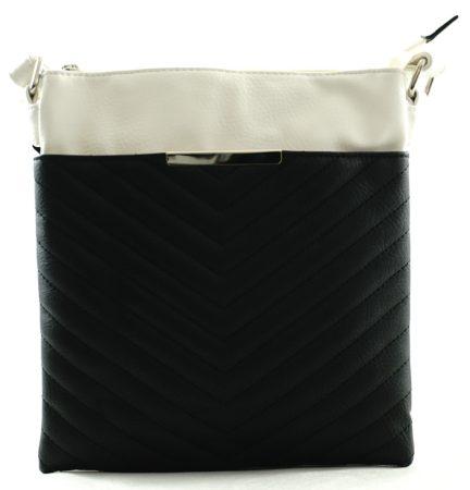 Női keresztpántos táska varrott mintával, műbőr, fekete-fehér