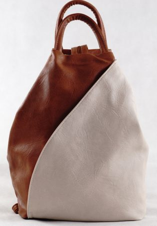 Női hátitáska külsején zsebekkel, műbőr, barna-bézs