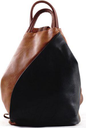 Női hátitáska külsején zsebekkel, műbőr, barna-fekete