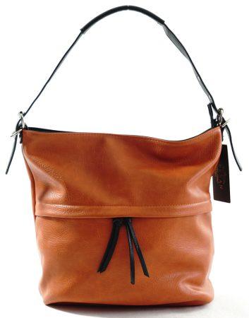 Egyszerű női válltáska állítható pánttal, műbőr, narancs