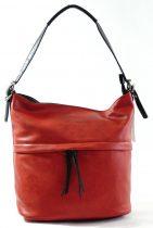 Egyszerű női válltáska állítható pánttal, műbőr, piros