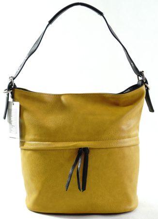 Egyszerű női válltáska állítható pánttal, műbőr, sárga