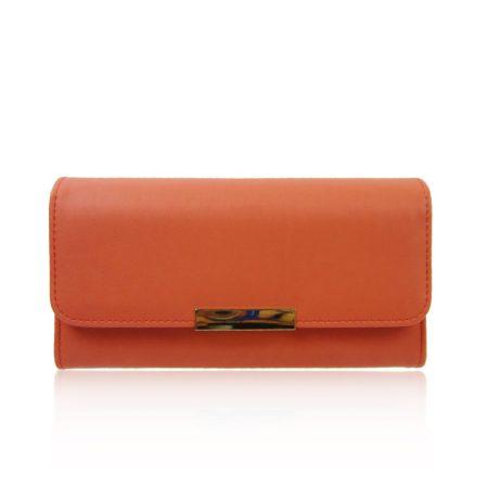 Hosszúkás női pénztárca, műbőr, narancs