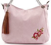 SILVIA ROSA láncos válltáska virágos mintával, műbőr, rózsaszín