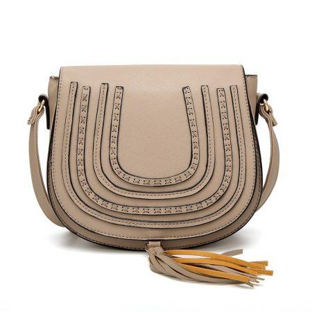 Bojttal díszített női táska, műbőr, szürke