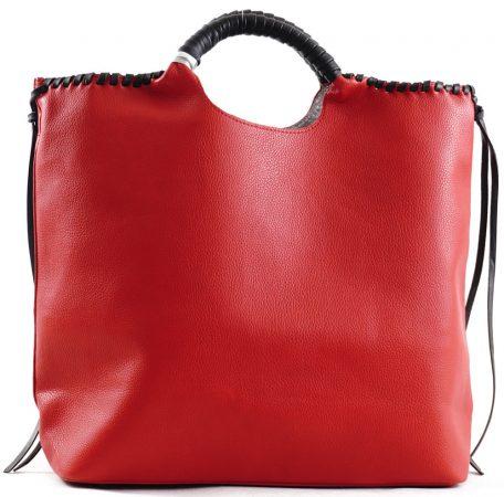 Nagyméretű női kézitáska táskarendezővel, rostbőr, piros