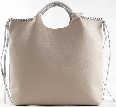 Nagyméretű női kézitáska táskarendezővel, rostbőr, fehér