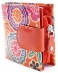 Női pénztárca, virág és mandala mintával, indiai bőr, narancssárga