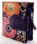 Női pénztárca, virág és mandala mintával, indiai bőr, lila