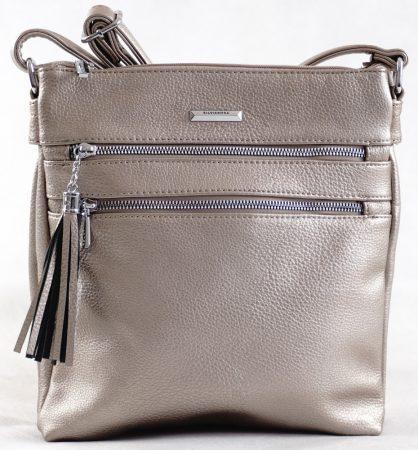 Silvia Rosa keresztpántos táska, rostbőr, ezüst
