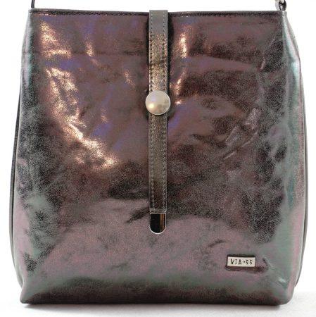 VIA55 keresztpántos táska, ezüst, rostbőr