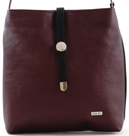 VIA55 keresztpántos táska, bordó, rostbőr