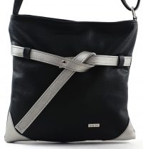 VIA55 keresztpántos táska, fekete-ezüst, rostbőr