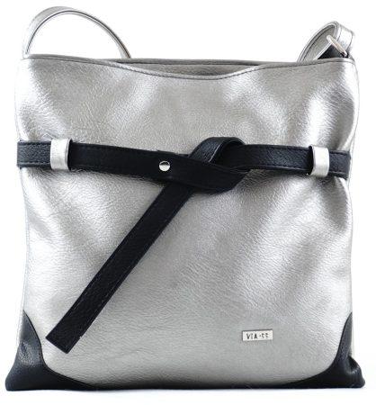 VIA55 keresztpántos táska, ezüst-fekete, rostbőr