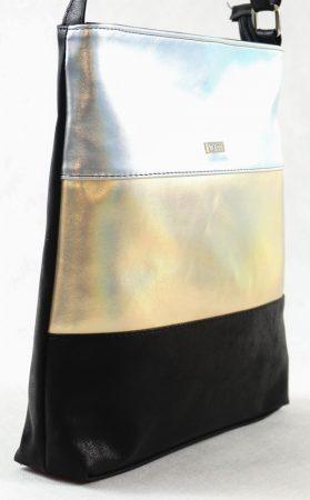 VIA55 női keresztpántos táska, arany-fekete, rostbőr