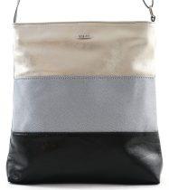 VIA55 női keresztpántos táska, ezüst-fekete, rostbőr