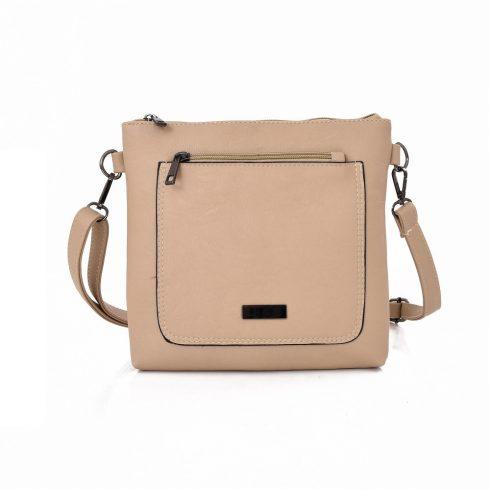 Keresztpántos táska, elöl nagy zsebbel, műbőr, bézs