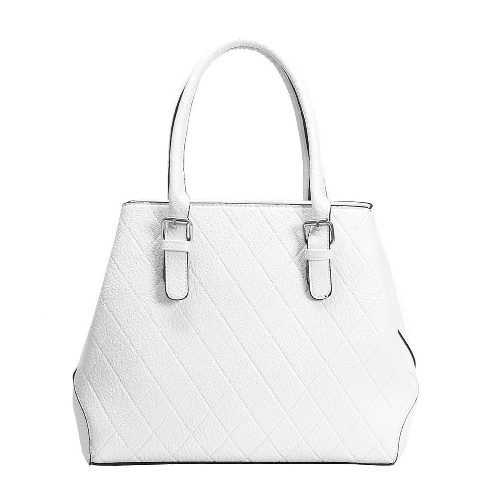 c72753345cb1 Női kézitáska steppelt mintával, műbőr, fehér - Divatos táskák azonnal,  olcsón, raktárról - Bagnet táska webáruház